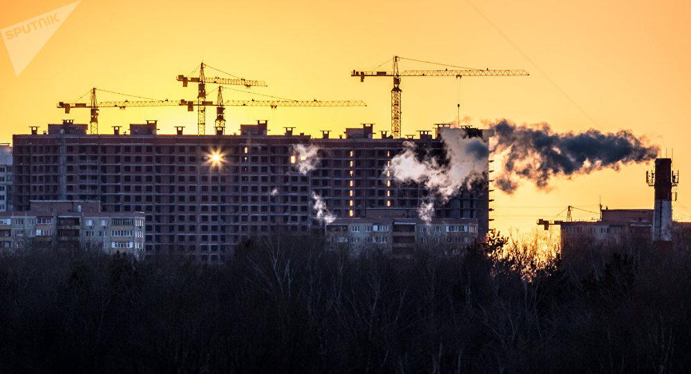 Casas en construcción en Moscú
