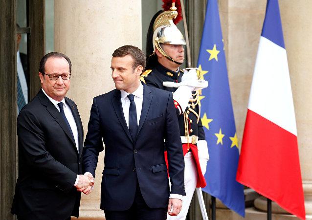 Francois Hollande y Emmanuel Macron