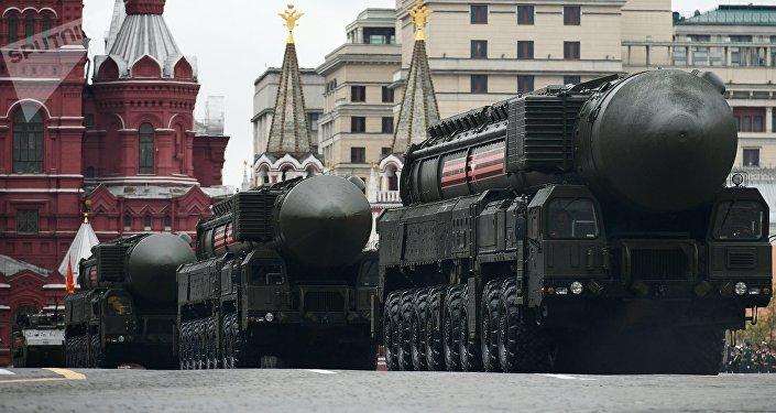 El complejo de misiles Yars en el desfile militar en la Plaza Roja de Moscú, Rusia (imagen referencial)