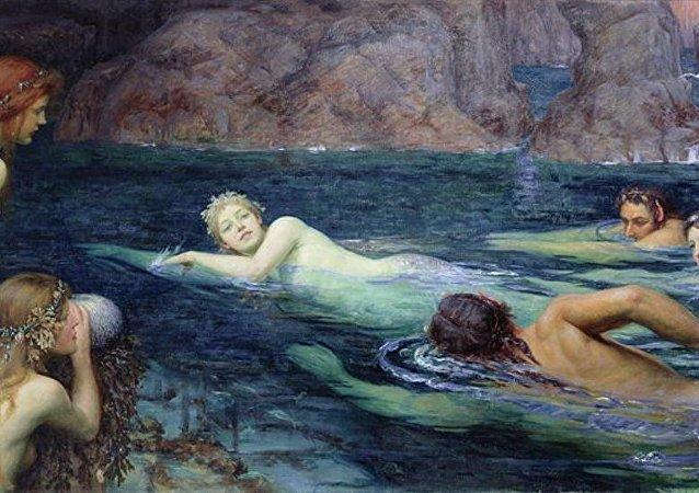 Pintura 'La carrera de sirenas y tritones' de Collier Twentyman Smithers, 1895