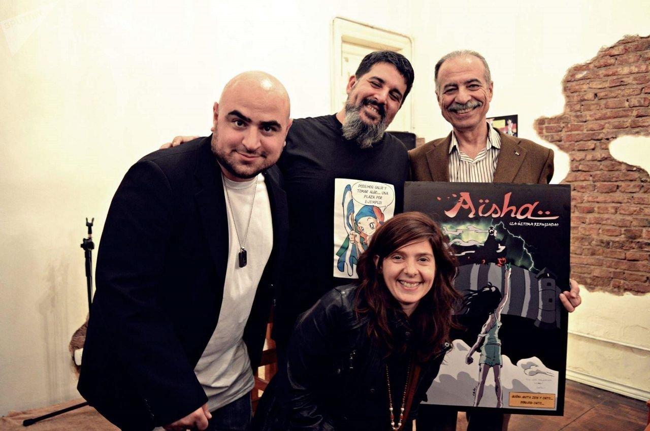 Daniel Devita, Caíto Onnainty, Anita Zen y el embajador palestino en Argentina, Husni M.A. Abdel Wahed