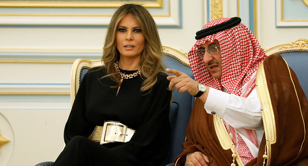Melania Trump durante su visita a Arabia Saudí