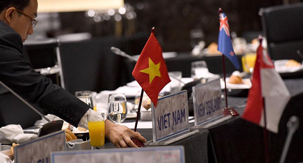 La bandera Vietnam y los países signatarios de TPP