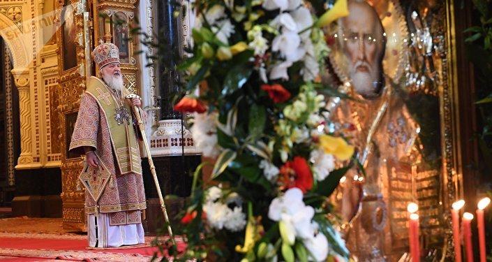 El patriarca de Moscú y toda Rusia Kiril en la Catedral de Cristo Salvador de Moscú