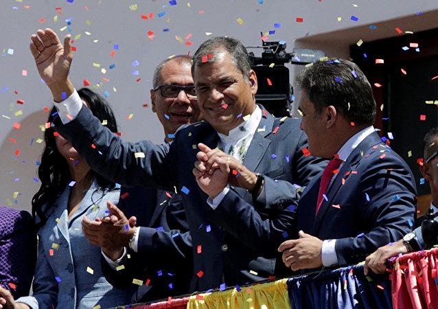 Rafael Correa, presidente saliente de Ecuador durante la toma de poder de Lenín Moreno