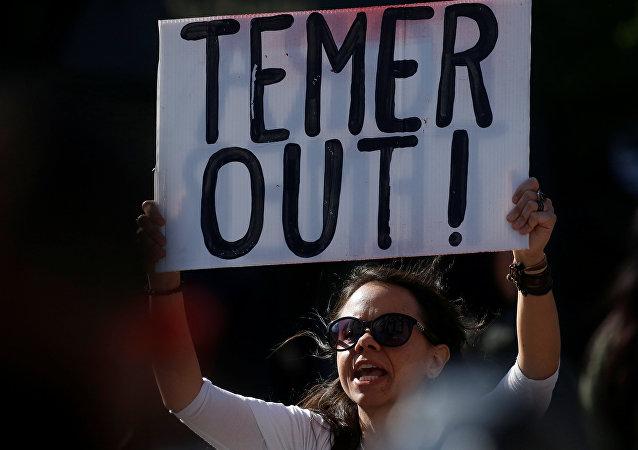 Protesta contra Michel Temer, presidente de Brasil