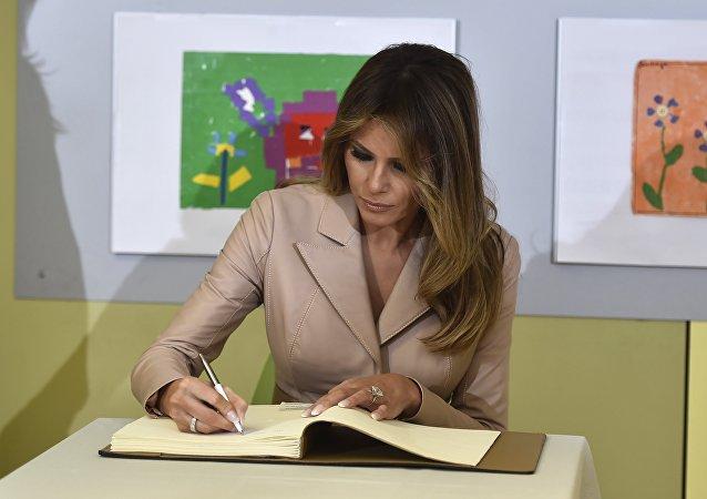 La primera dama de Estados Unidos visita el hospital Queen Fabiola en Bruselas