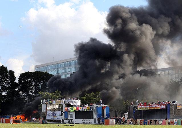 Protestas en la capital de Brasil
