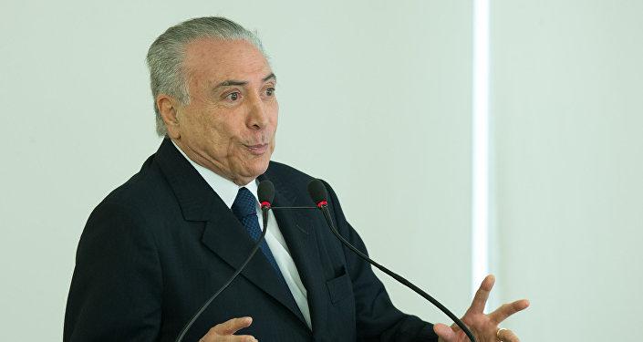 El presidente de Brasil, Michel Temer, durante una ceremonia oficial (Archivo)