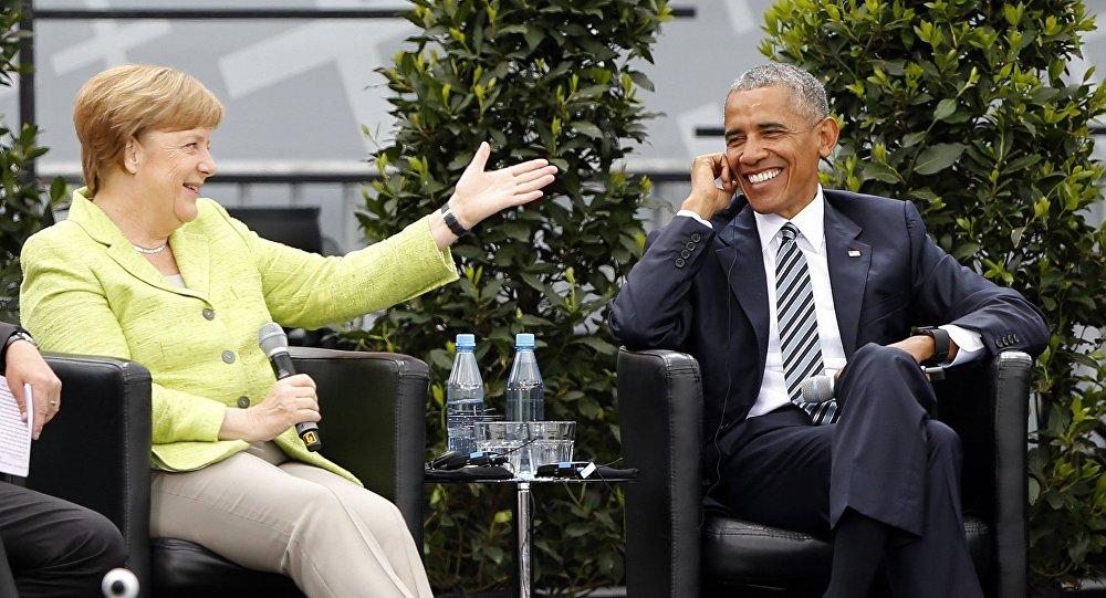 Canciller de Alemania, Angela Merkel, y expresidente de EEUU, Barack Obama