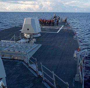 El destructor estadounidense USS Dewey en el mar del Sur de China