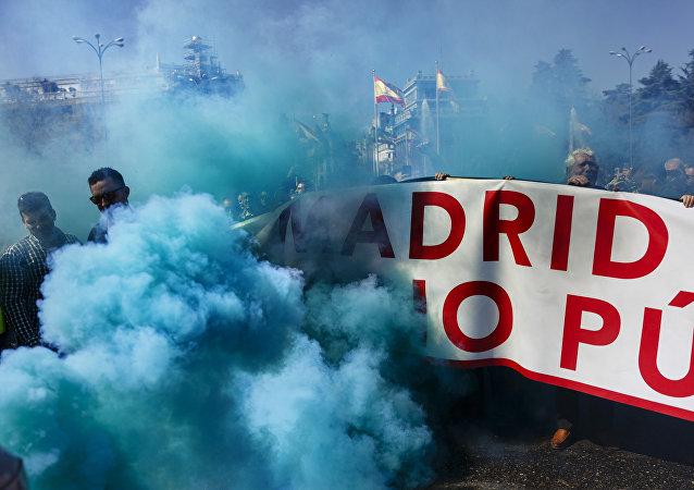 Una protesta de los taxistas en Madrid, España