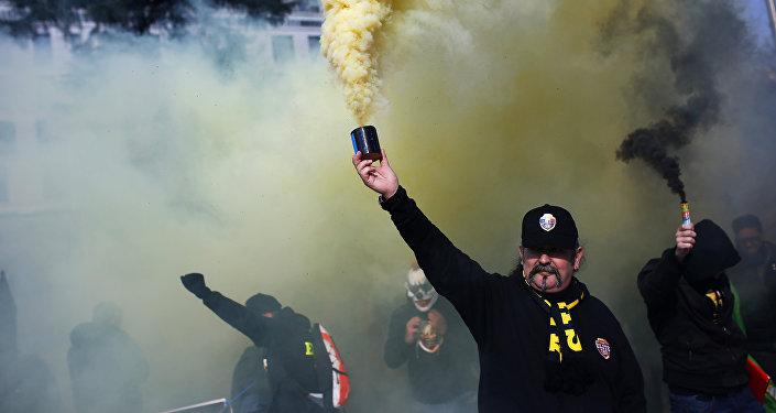 Taxistas protestan en Madrid, España