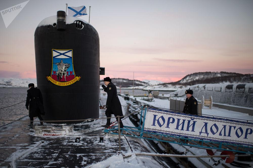 El submarino Yuri Dolgoruki en el embarcadero de la ciudad de Gadzhiyevo (región de Múrmansk), 2014