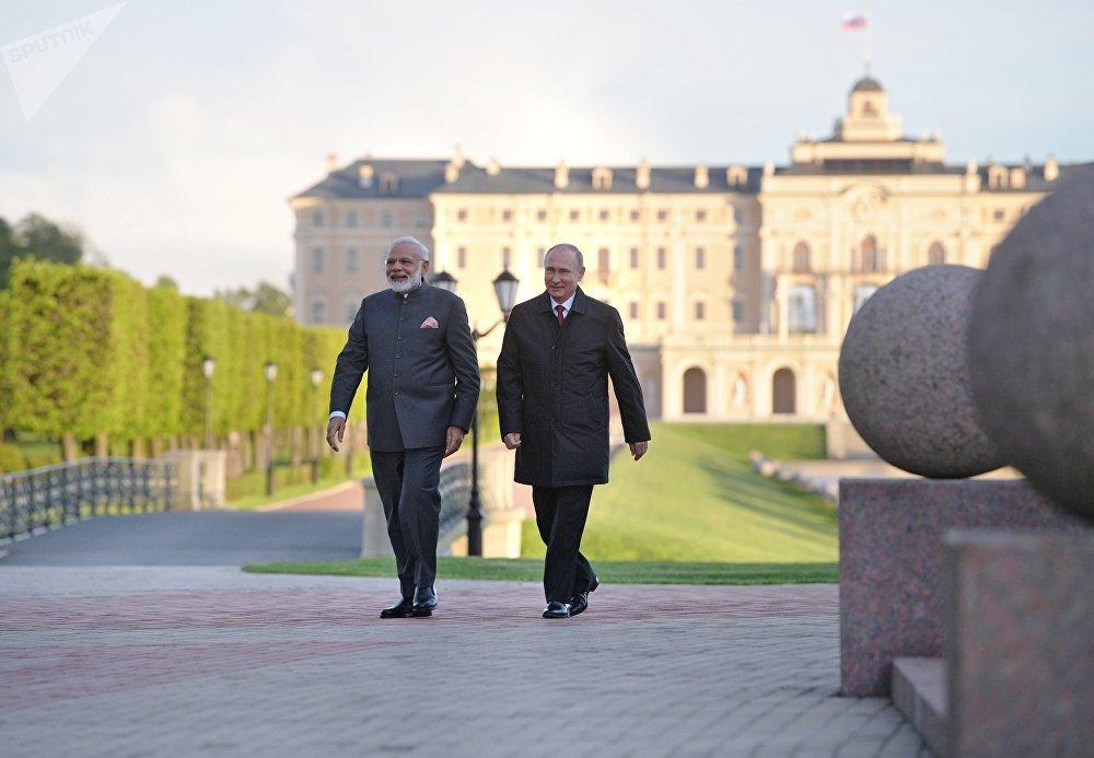 El presidente de Rusia, Vladímir Putin, y el primer ministro de la India, Narendra Modi, durante un paseo por el territorio del Palacio de Constantino en Strelna, cerca de la ciudad rusa de San Petersburgo.