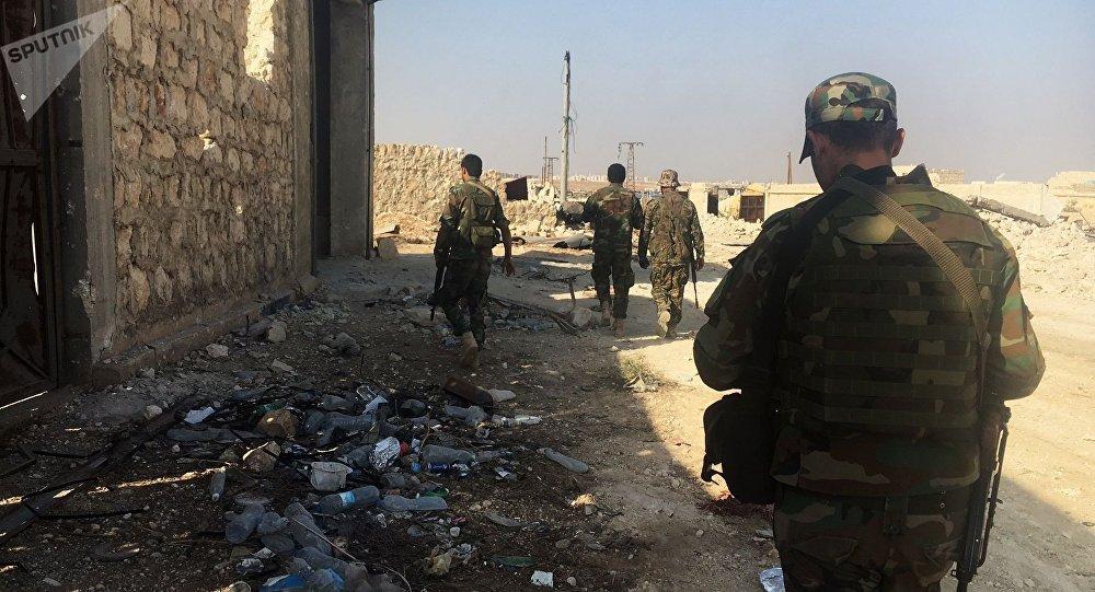 Militares del Ejército Árabe Sirio en Alepo