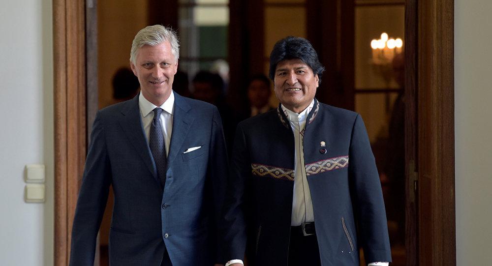 El presidente Evo Morales con el Rey Felipe de Bélgica