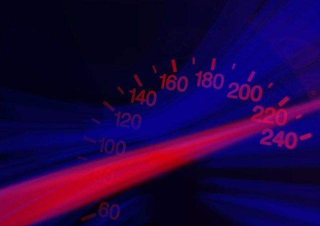 Velocímetro de un vehiculo en alta velocidad (ilustración)