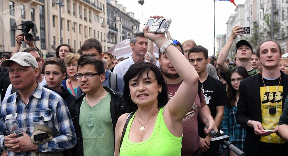 La manifestación no autorizada en la calle Tverskaya de Moscú