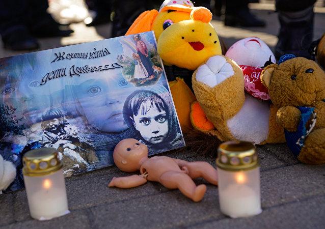Una manifestación contra la guerra en el Donbás