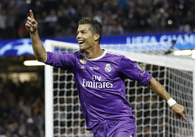 Cristiano Ronaldo del Real Madrid en la final de la Champions League