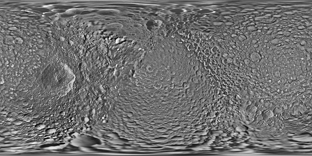 El mapa de Mimas, registrado por la sonda Cassini