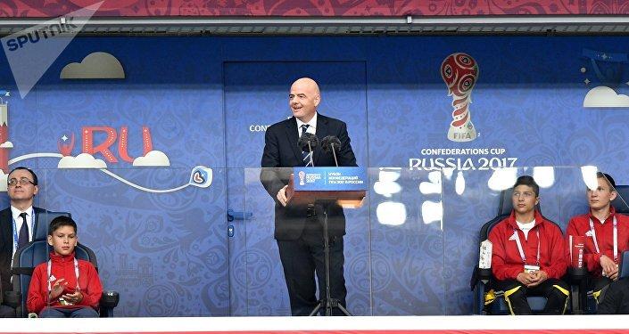 Gianni Infantino, el presidente de la FIFA, en la ceremonia de apertura de la Copa Confederaciones 2017