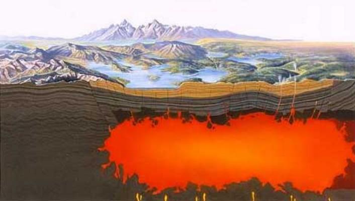 Ubicación de la cámara magmática bajo el supervolcán o caldera de Yellowstone