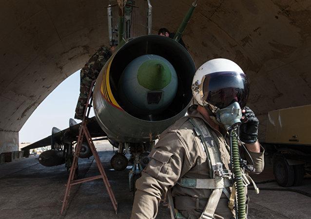 Un Su-22 de la Fuerza Aérea Siria