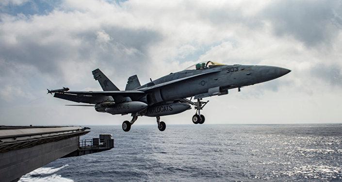 Caza estadounidense F/A-18E Super Hornet (archivo)
