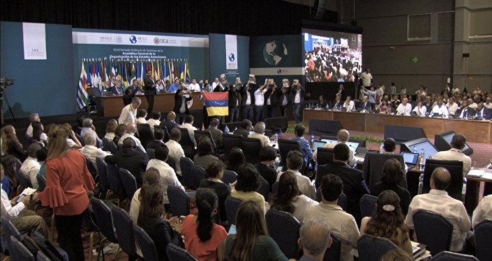 Protesta de la oposición venezolana durante la 47 Asamblea General de la OEA