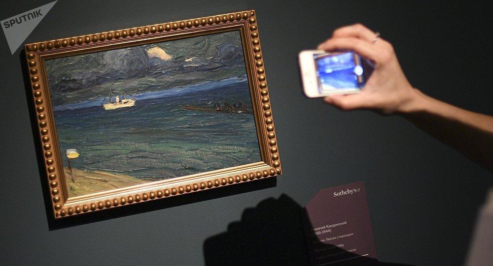 Cuadro de Kandinski durante una exposición en Rusia