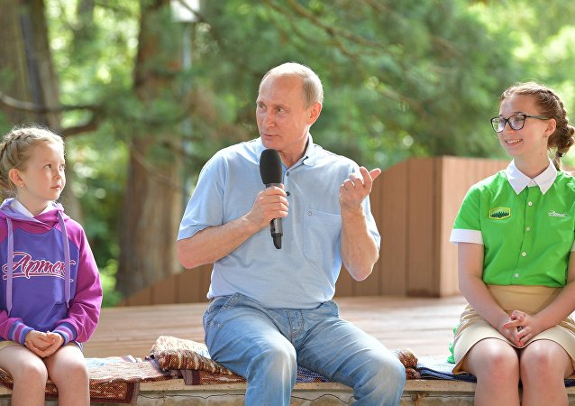 Vladímir Putin, presidente de Rusia, en el campamento de verano Artek