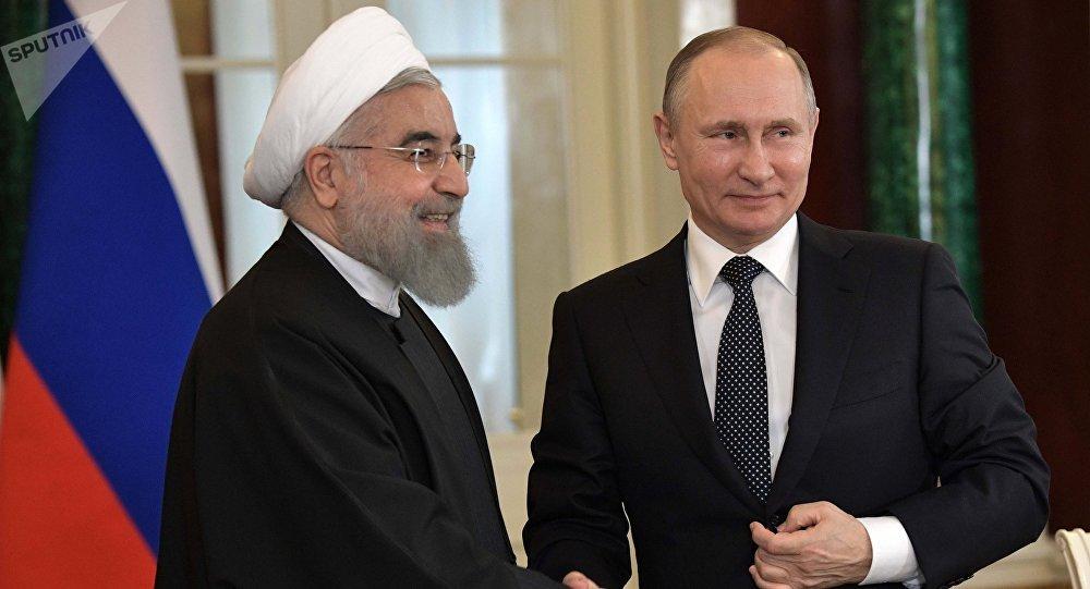 Presidente de la Federación de Rusia Vladímir Putin y presidente de Irán Hasán Rouhaní