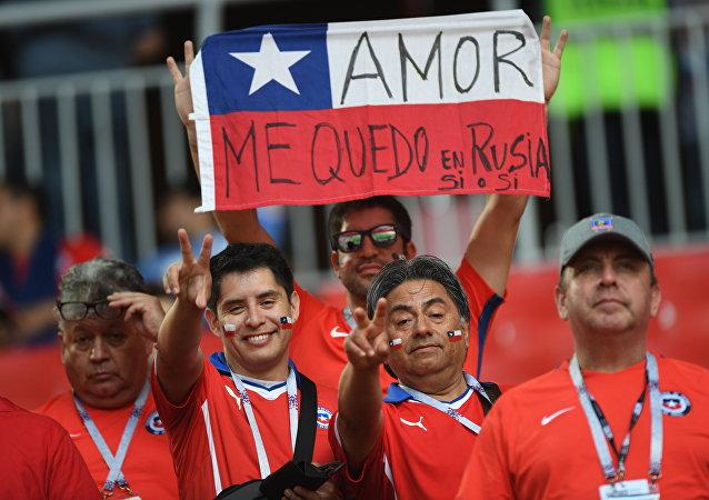 Hinchas chilenos en Moscú