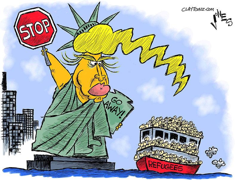Caricatura de Clayton Robert Jones (EEUU).