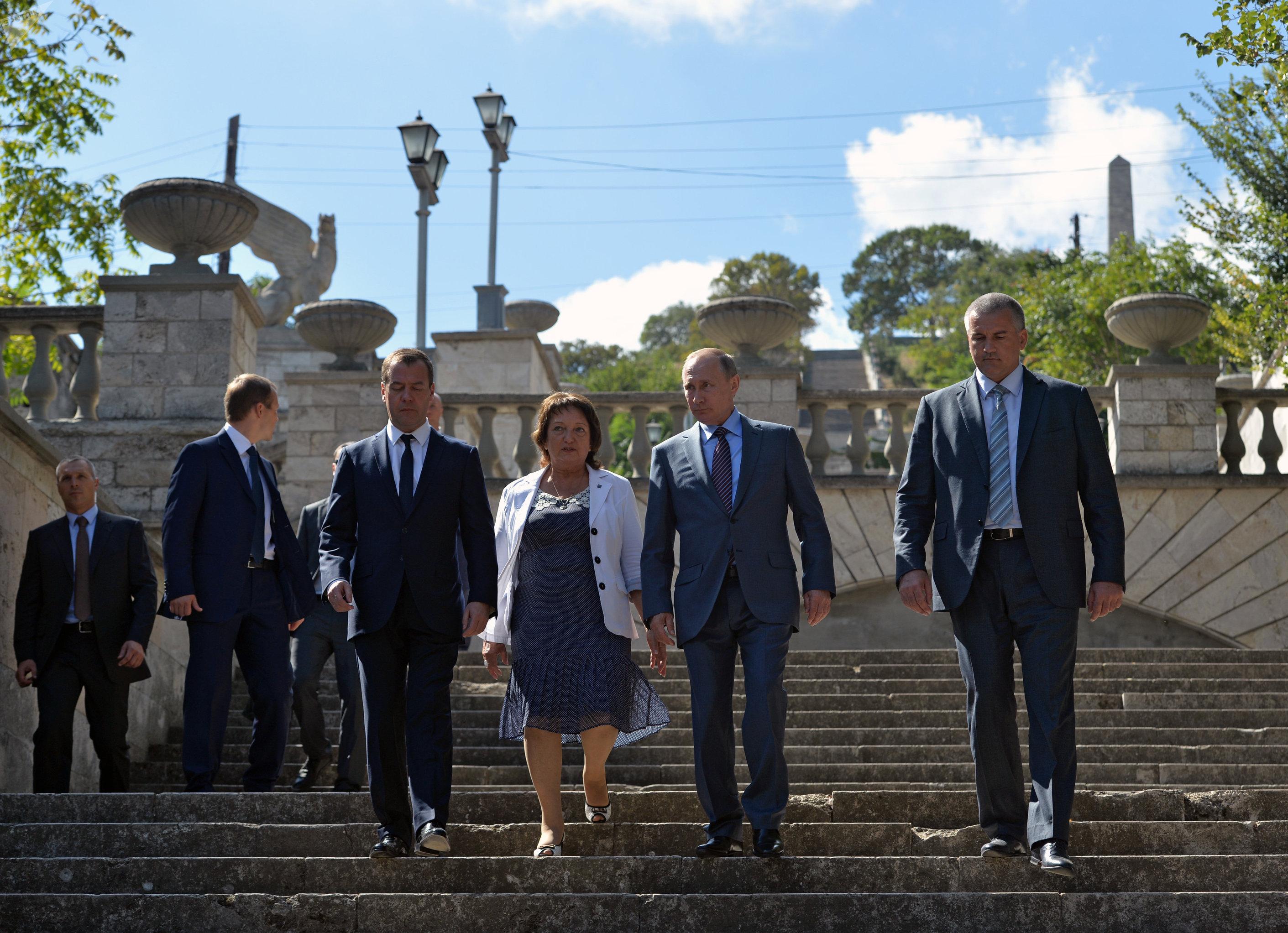 Vladímir Putin, en la Gran Escalera de Mitridat, en Crimea