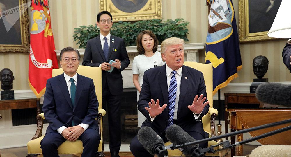 El presidente de EEUU, Donald Trump y el presidente surcoreano, Moon Jae-in