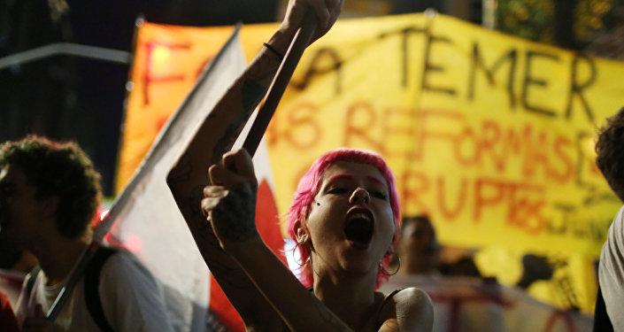 Protesta contra Michel Temer en Río de Janeiro