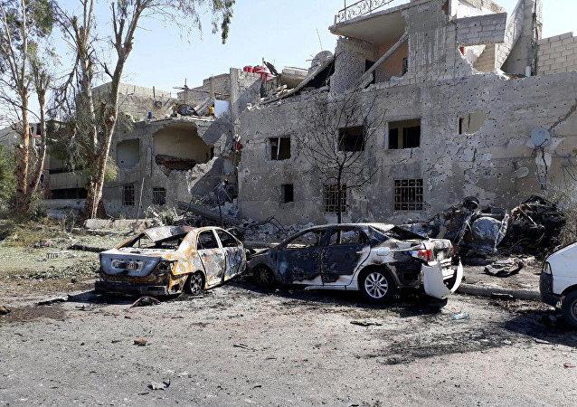 Lugar del atentado en Damasco
