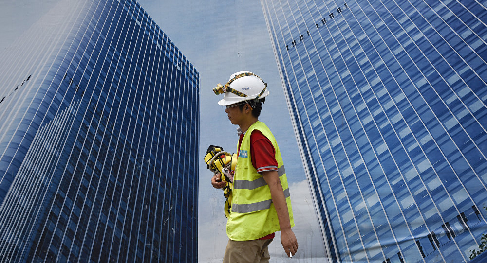 Trabajador chino en Pekín, China