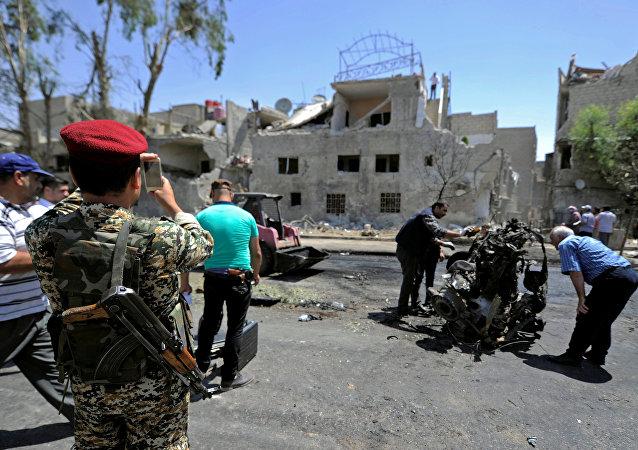 Lugar de explosión en Damasco