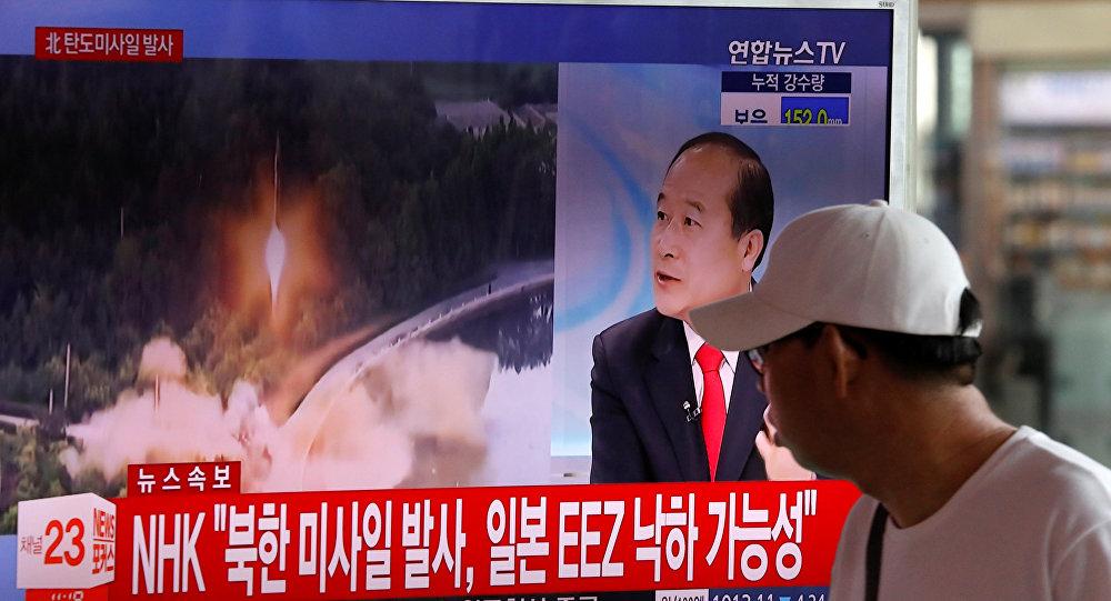 Reportaje surcoreano sobre el lanzamiento de un misil balístico por Corea del Norte