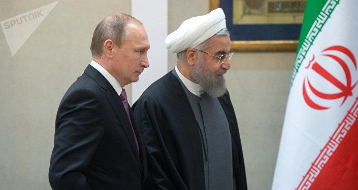 Presidente de Rusia, Vladímir Putin y presidente de Irán, Hasán Rohani