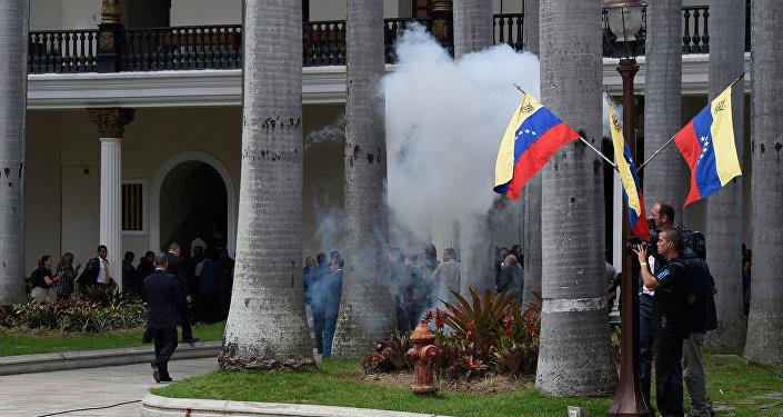 Disturbios a las puertas de la Asamblea Nacional en Venezuela