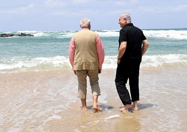 Benjamín Netanyahu, primer ministro de Israel, y Narendra Modi, su homólogo de la India