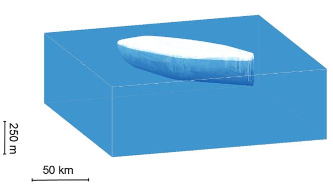 Simulación de las dimensiones del futuro iceberg