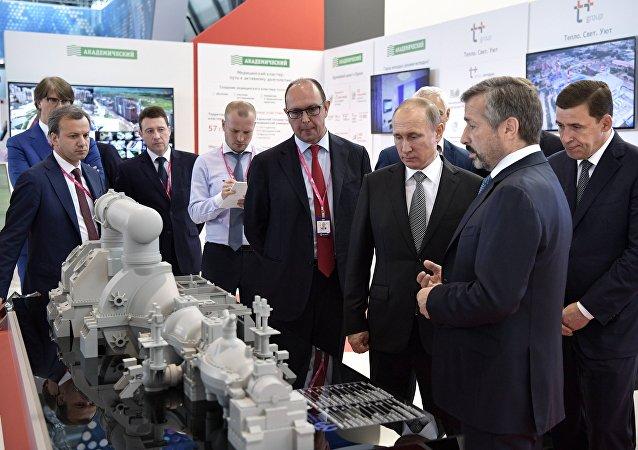 Vladímir Putin, presidente de Rusia, en la exposición industrial Innoprom en Ekaterimburgo, Rusia