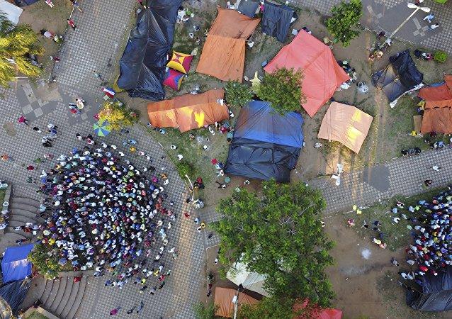 Manifestación de campesinos en Asunción, Paraguay