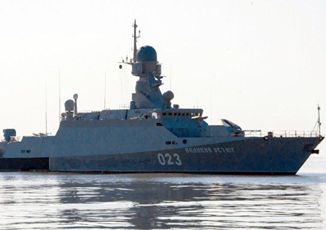 La corbeta rusa Veliki Ustiug en el mar Caspio (archivo)